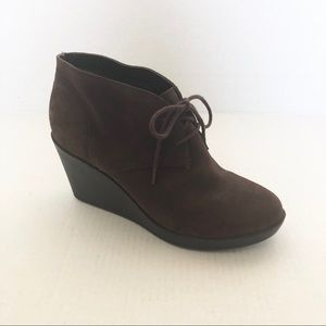 Cole Haan Suede Lace Up Wedge Bootie Ankle Boots